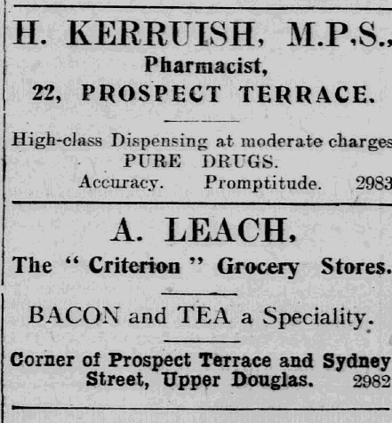 Advert for Kerruish's Pharmacy, courtesy of the iMuseum, Manx National Heritage
