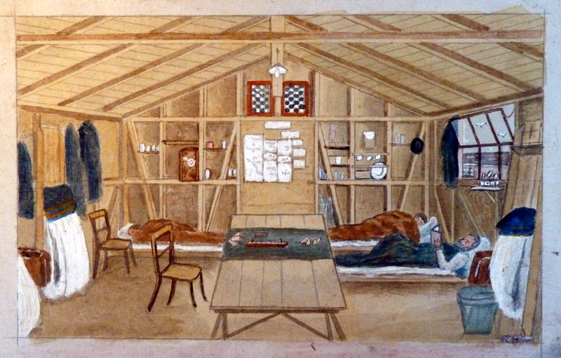 Painting of Hut Interior by Richard Halfpap ©Knockaloe Archive