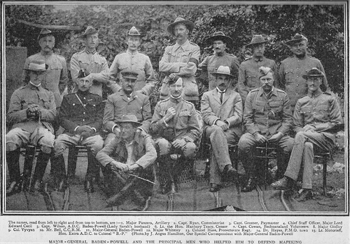Major FW Panzera (back row, first on the left), at the Siege of Mafeking (1899-1900), alongside Colonel (later Lord) Baden Powell