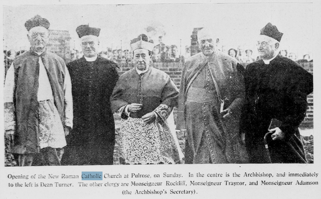 Monseigneur Traynor at the opening of Pulrose Church (1939), Isle of Man Weekly Times, 5 August 1939: 16.