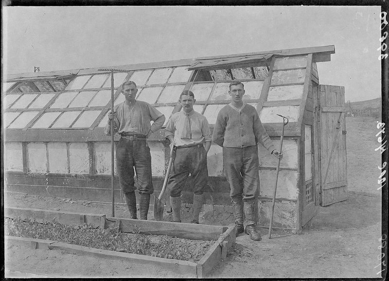 Internees outside greenhouse ©MNH